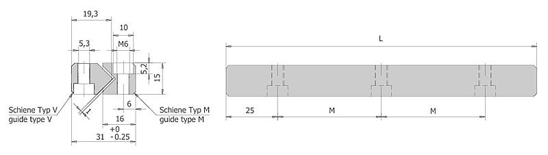 Führungsschienen Typ M/V Größe 6 | IEF-Werner