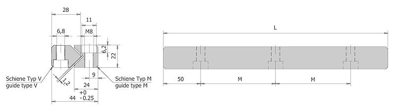 Führungsschienen Typ M/V Größe 9 | IEF-Werner