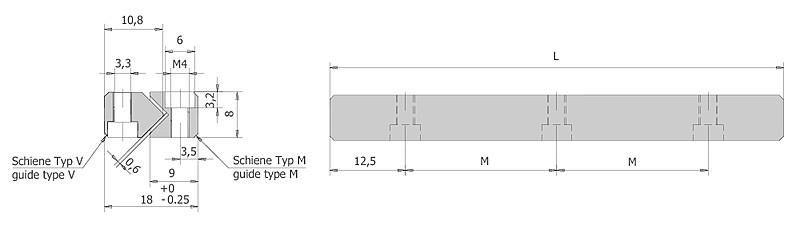 Führungsschienen Typ M/V Größe 3 | IEF-Werner